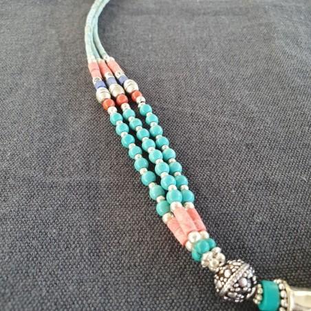 """Parure ethnique """"Pumo"""" en turquoise et corail - Colliers tibétains"""