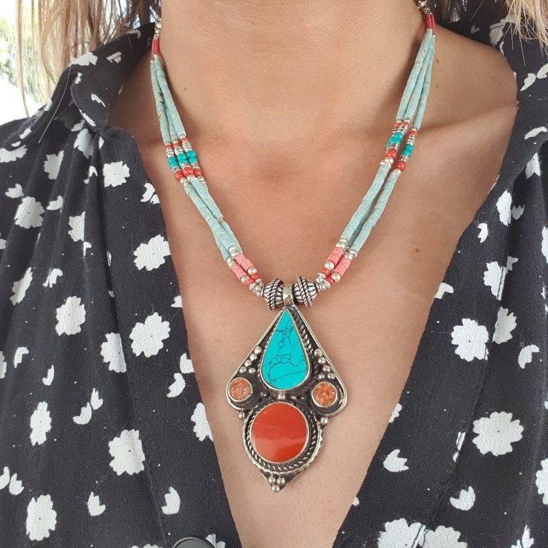 Namgang - Collier tibétain en turquoise et corail