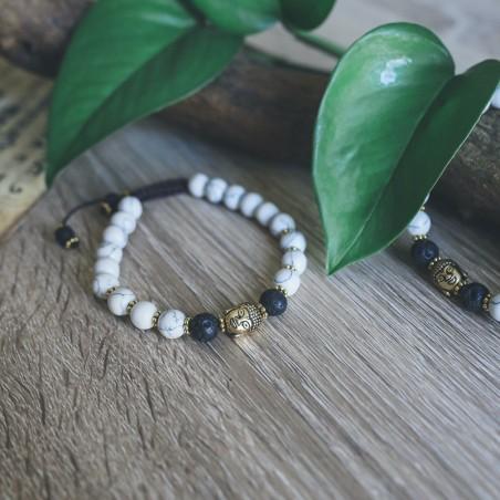 Bracelet bouddha en howlite blanche et pierre de lave - Bracelets malas tibétains