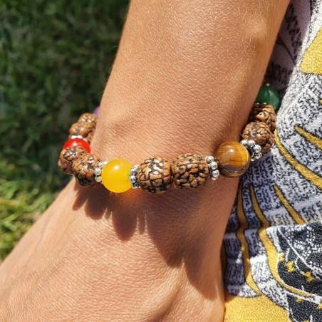 Bracelet 7 chakras et rudraksha - Bracelets malas tibétains