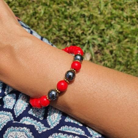 Bracelet en perles de corail rouge et pierre hématite - Bracelets malas tibétains