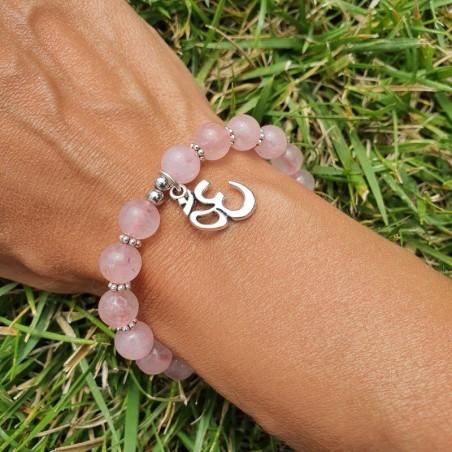 Bracelet quartz rose et médaillon OM - Bracelets malas tibétains