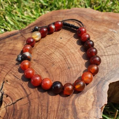 Bracelet mala tibétain en pierre agate rouge - Bracelets malas tibétains