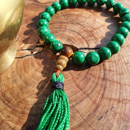 Bracelet mala tibétain en perles de malachite - Bracelets malas tibétains