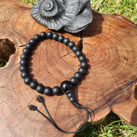 Bracelet de protection divine en perles de shaligram - Bracelets malas tibétains